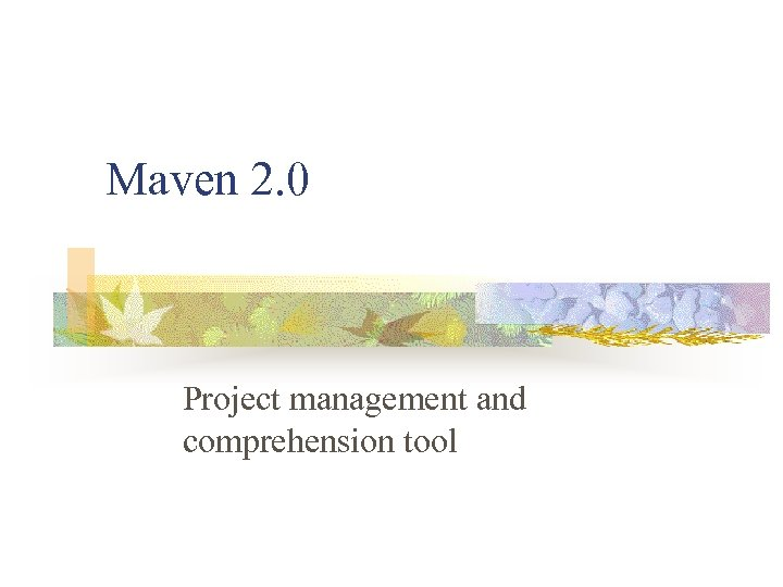Maven 2. 0 Project management and comprehension tool