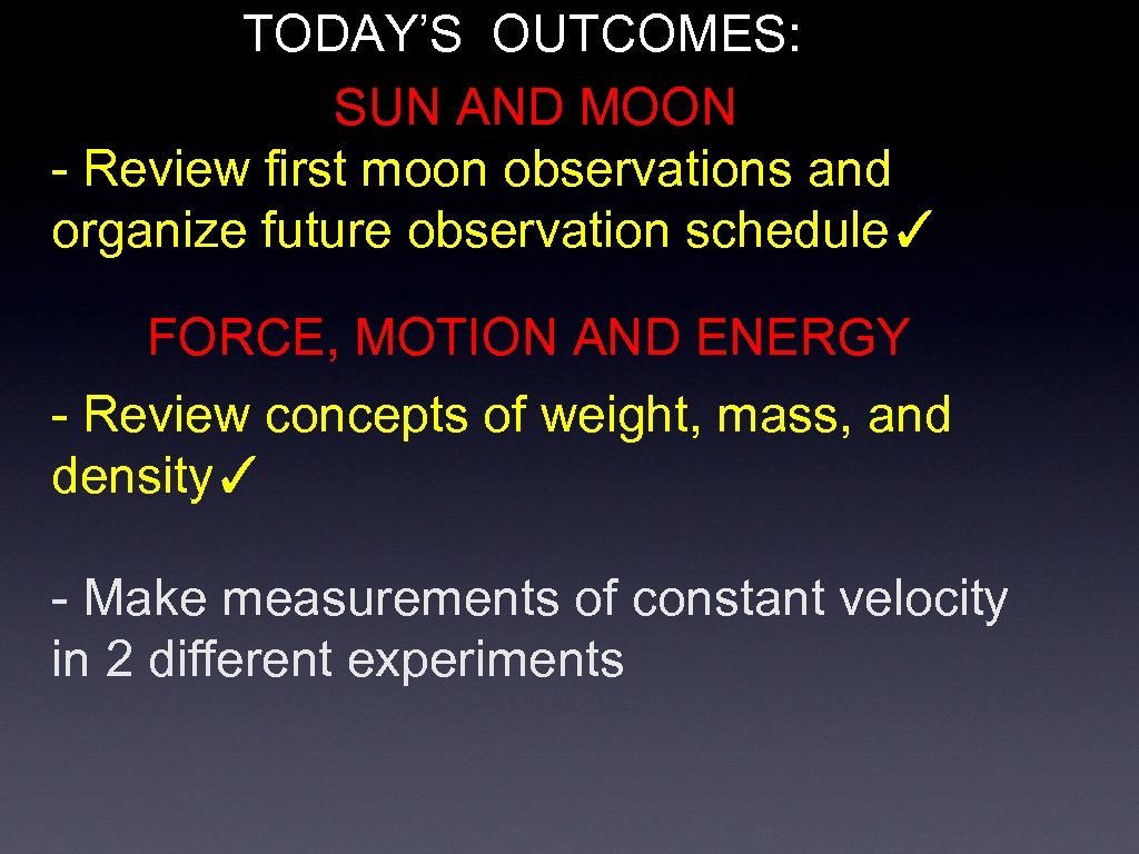 TODAY'S OUTCOMES: SUN AND MOON - Review first moon observations and organize future observation