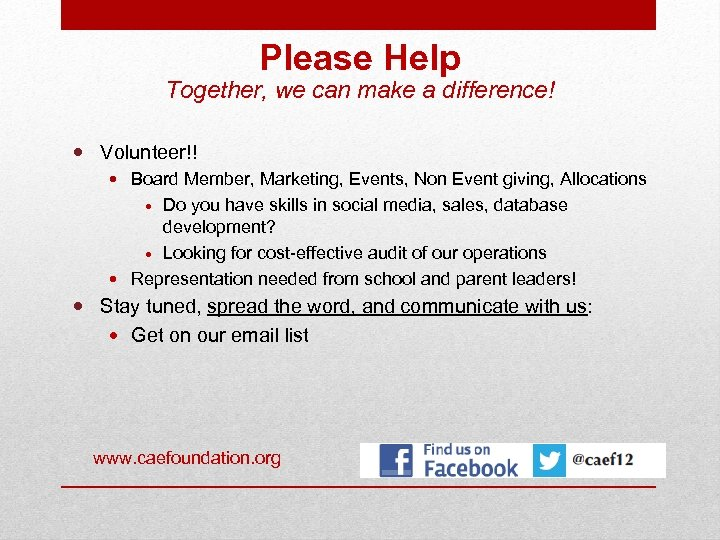 Please Help Together, we can make a difference! Volunteer!! Board Member, Marketing, Events, Non