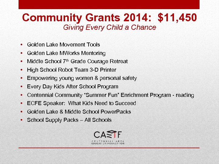 Community Grants 2014: $11, 450 Giving Every Child a Chance • • • Golden