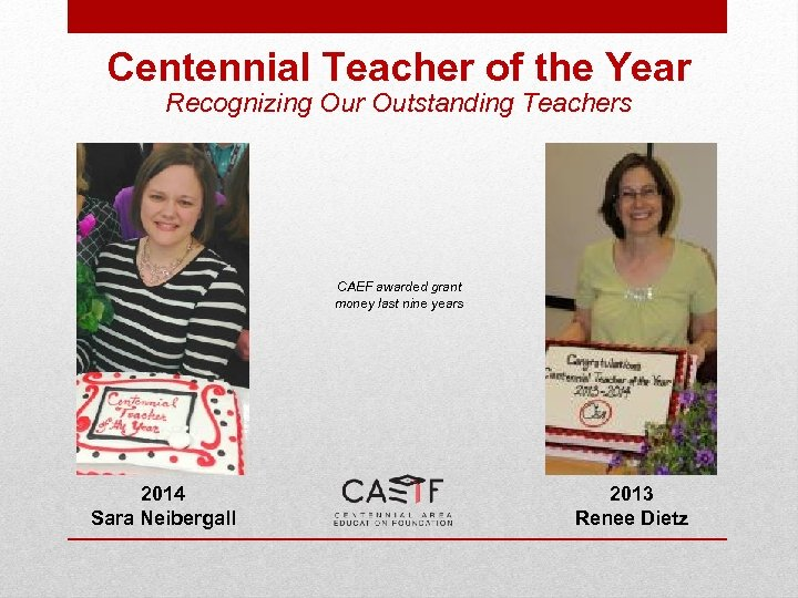 Centennial Teacher of the Year Recognizing Our Outstanding Teachers CAEF awarded grant money last