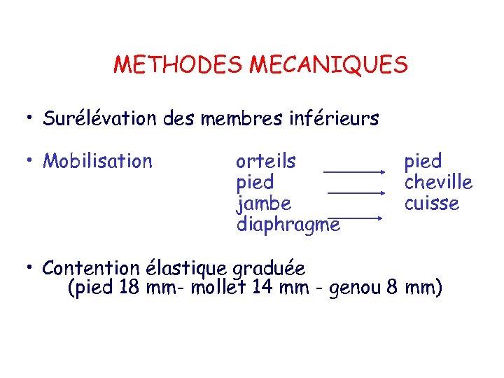METHODES MECANIQUES • Surélévation des membres inférieurs • Mobilisation orteils pied jambe diaphragme pied
