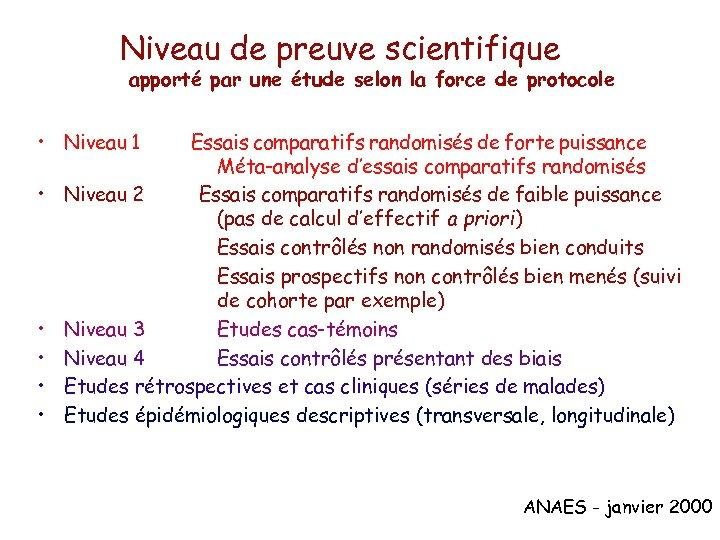 Niveau de preuve scientifique apporté par une étude selon la force de protocole •