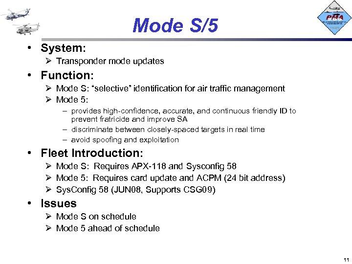 """Mode S/5 • System: Ø Transponder mode updates • Function: Ø Mode S: """"selective"""""""