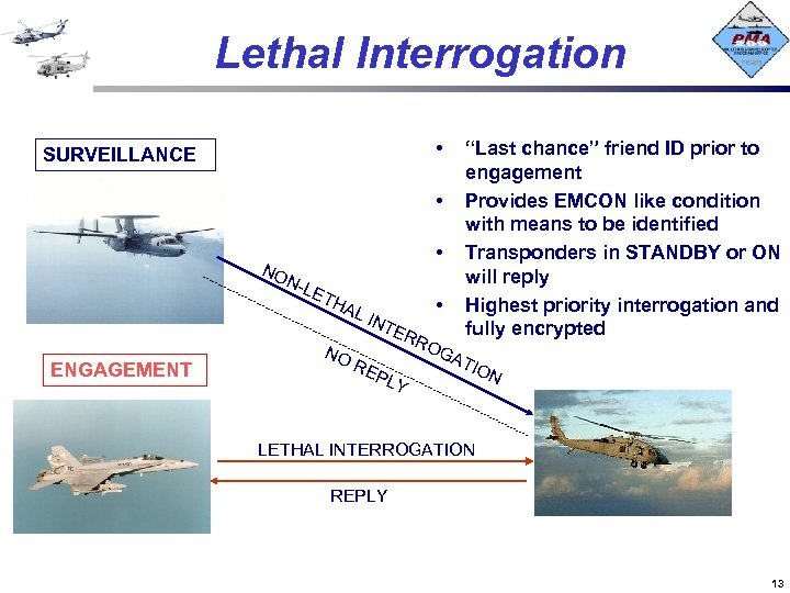 """Lethal Interrogation • SURVEILLANCE • """"Last chance"""" friend ID prior to engagement Provides EMCON"""