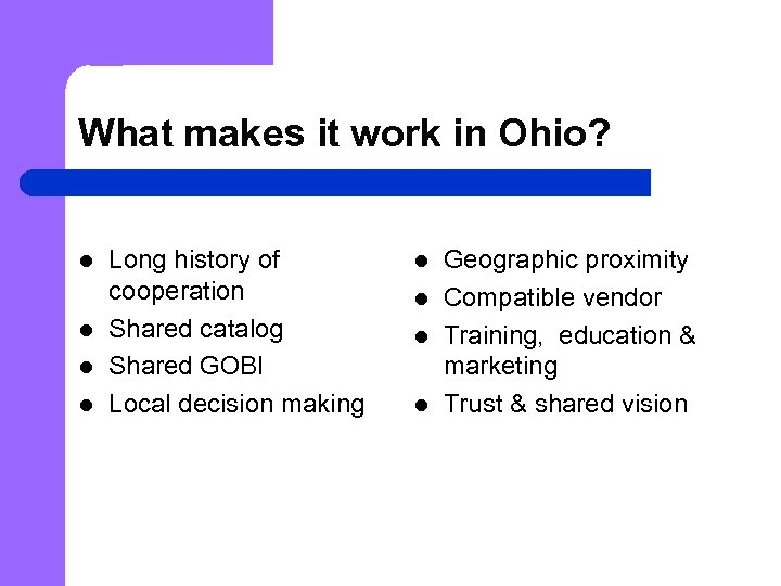 What makes it work in Ohio? l l Long history of cooperation Shared catalog