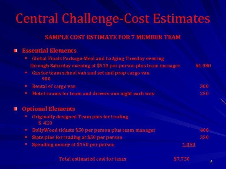 Central Challenge-Cost Estimates SAMPLE COST ESTIMATE FOR 7 MEMBER TEAM Essential Elements § Global