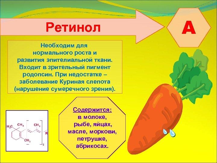 Ретинол Необходим для нормального роста и развития эпителиальной ткани. Входит в зрительный пигмент родопсин.