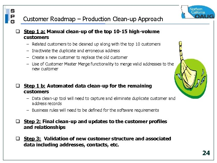 Customer Roadmap – Production Clean-up Approach q Step 1 a: Manual clean-up of the
