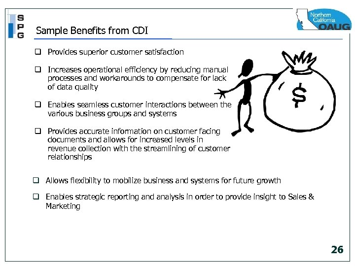 Sample Benefits from CDI q Provides superior customer satisfaction q Increases operational efficiency by