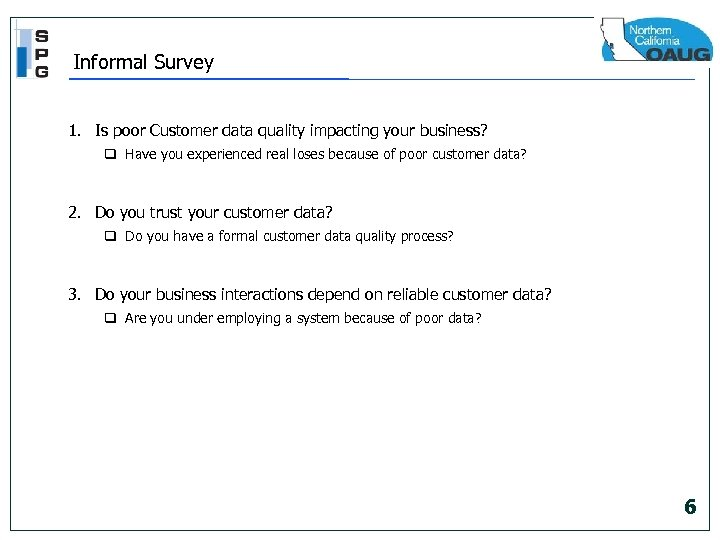 Informal Survey 1. Is poor Customer data quality impacting your business? q Have you