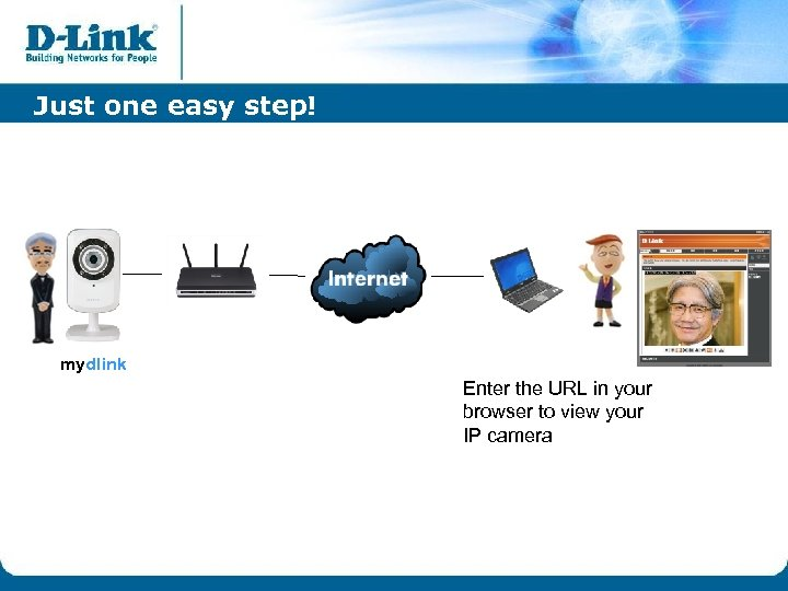 Just one easy step! mydlink Enter the URL in your browser to view your