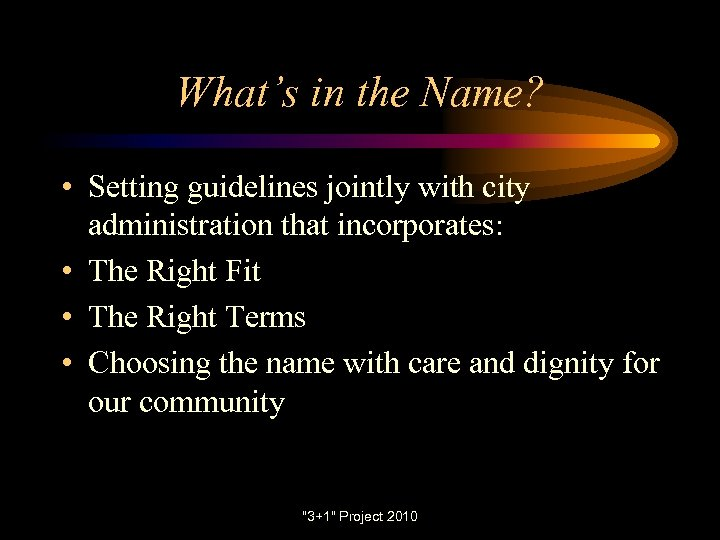 What's in the Name? • Setting guidelines jointly with city administration that incorporates: •