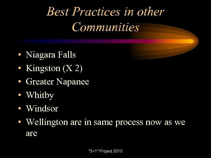 Best Practices in other Communities • • • Niagara Falls Kingston (X 2) Greater