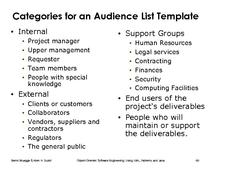 Categories for an Audience List Template • Internal • • • Project manager Upper