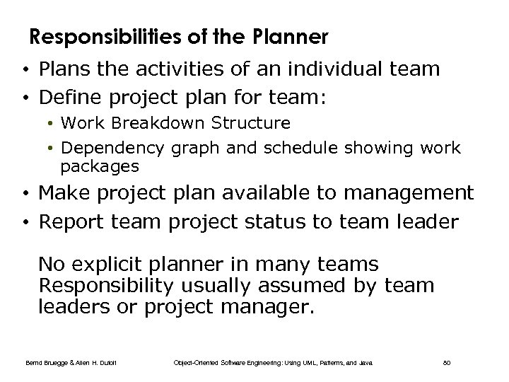 Responsibilities of the Planner • Plans the activities of an individual team • Define