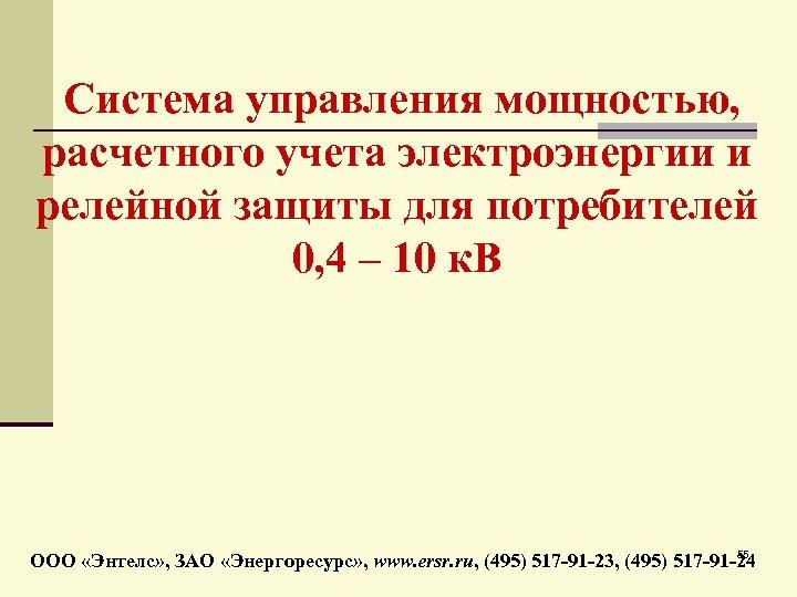 Система управления мощностью, расчетного учета электроэнергии и релейной защиты для потребителей 0, 4