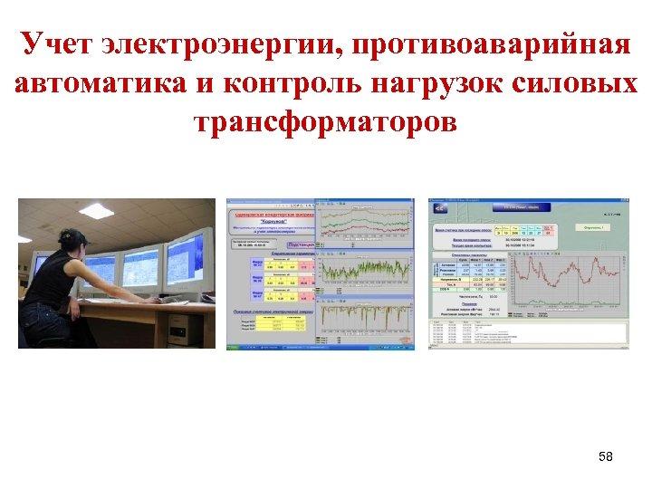 Учет электроэнергии, противоаварийная автоматика и контроль нагрузок силовых трансформаторов 58