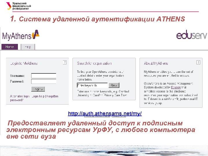 1. Система удаленной аутентификации ATHENS http: //auth. athensams. net/my/ Предоставляет удаленный доступ к подписным