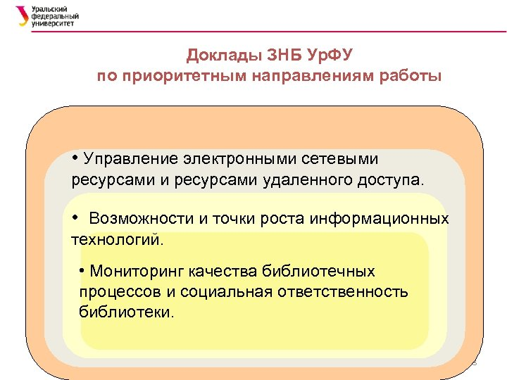 Доклады ЗНБ Ур. ФУ по приоритетным направлениям работы • Управление электронными сетевыми ресурсами удаленного