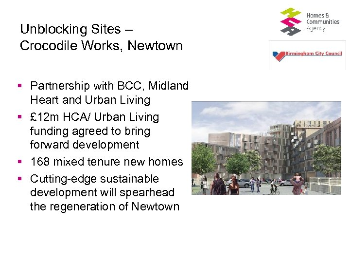 Unblocking Sites – Crocodile Works, Newtown § Partnership with BCC, Midland Heart and Urban
