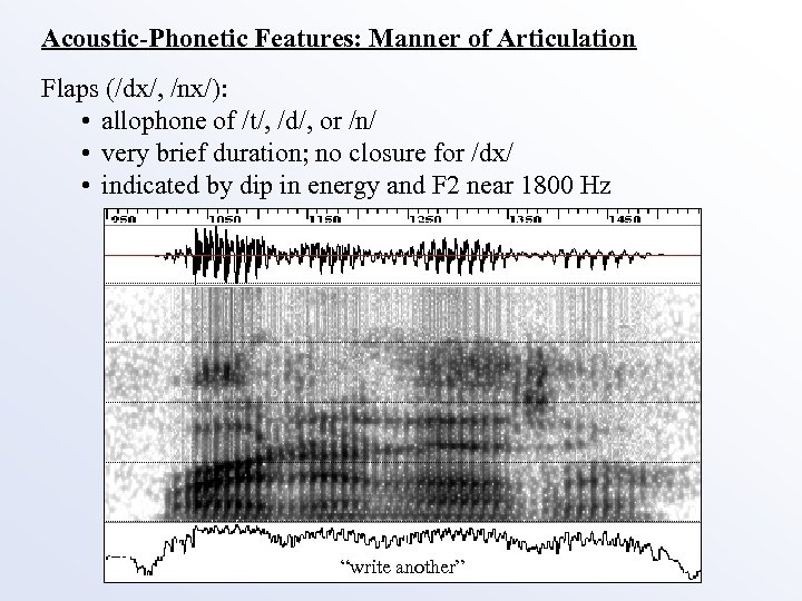 Acoustic-Phonetic Features: Manner of Articulation Flaps (/dx/, /nx/): • allophone of /t/, /d/, or