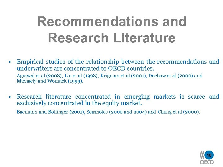 Recommendations and Research Literature • Empirical studies of the relationship between the recommendations and