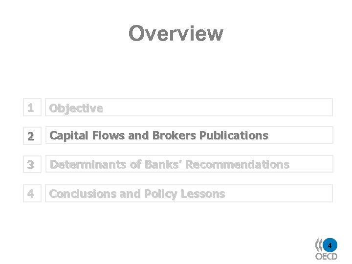Overview 1 Objective 2 Capital Flows and Brokers Publications 3 Determinants of Banks' Recommendations