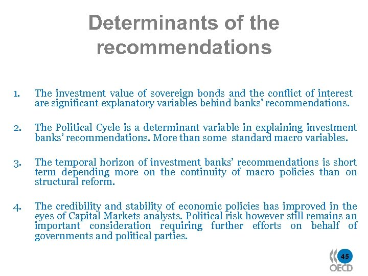 Determinants of the recommendations 1. The investment value of sovereign bonds and the conflict