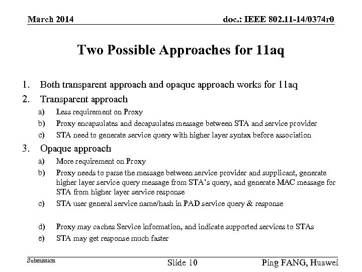 doc. : IEEE 802. 11 -14/0374 r 0 March 2014 Two Possible Approaches for