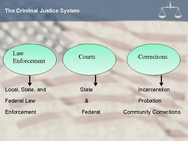 The Criminal Justice System Law Enforcement Local, State, and Federal Law Enforcement Courts Corrections