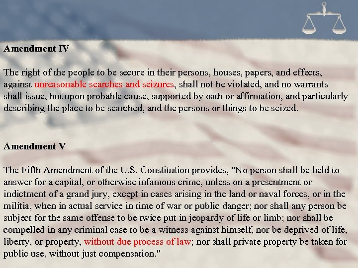 Amendment IV The right of the people to be secure in their persons, houses,