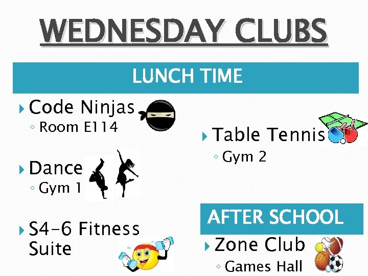 WEDNESDAY CLUBS LUNCH TIME Code Ninjas ◦ Room E 114 Dance Table Tennis ◦