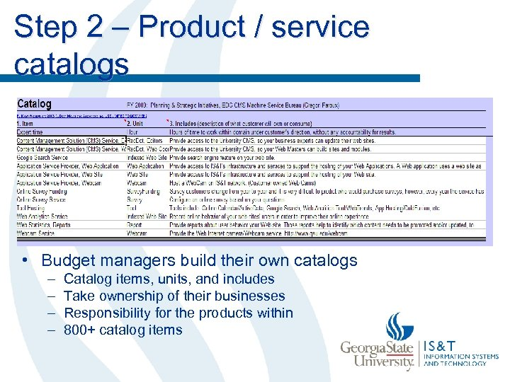 Step 2 – Product / service catalogs • Budget managers build their own catalogs