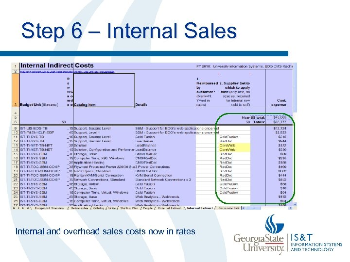 Step 6 – Internal Sales Internal and overhead sales costs now in rates
