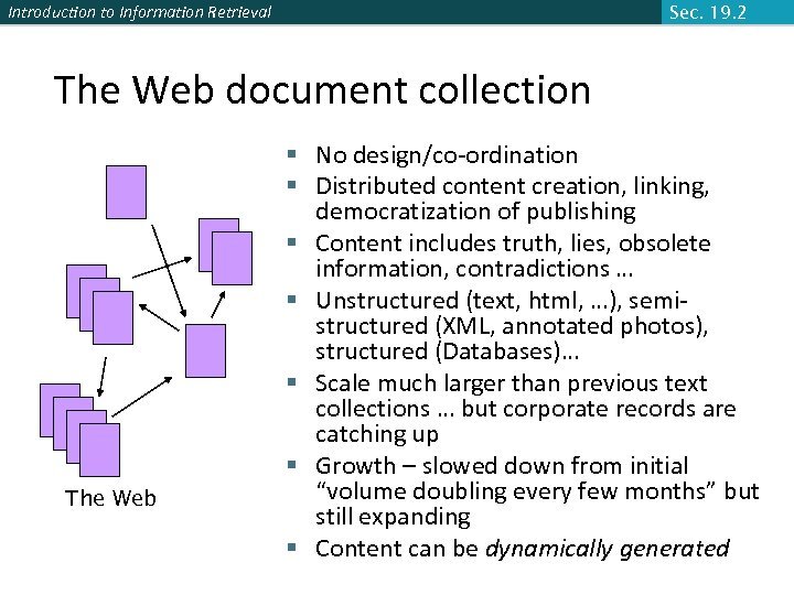 Introduction to Information Retrieval Sec. 19. 2 The Web document collection The Web §