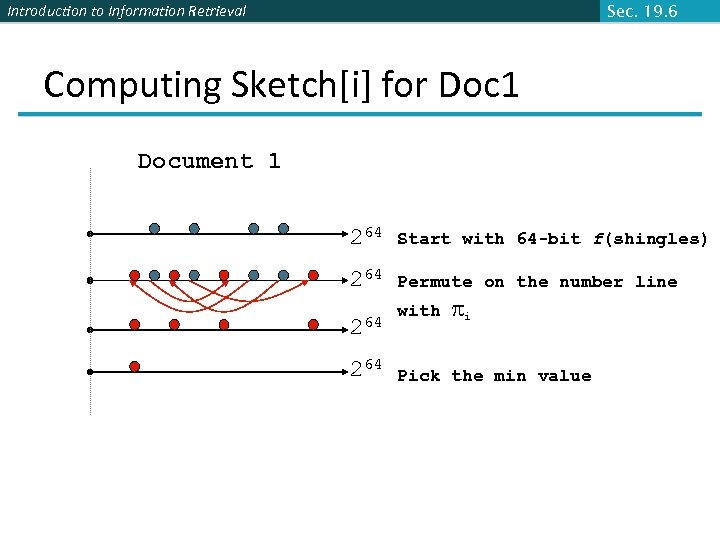 Introduction to Information Retrieval Sec. 19. 6 Computing Sketch[i] for Doc 1 Document 1