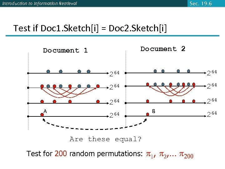 Introduction to Information Retrieval Sec. 19. 6 Test if Doc 1. Sketch[i] = Doc