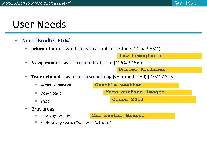 Introduction to Information Retrieval Sec. 19. 4. 1 User Needs § Need [Brod 02,