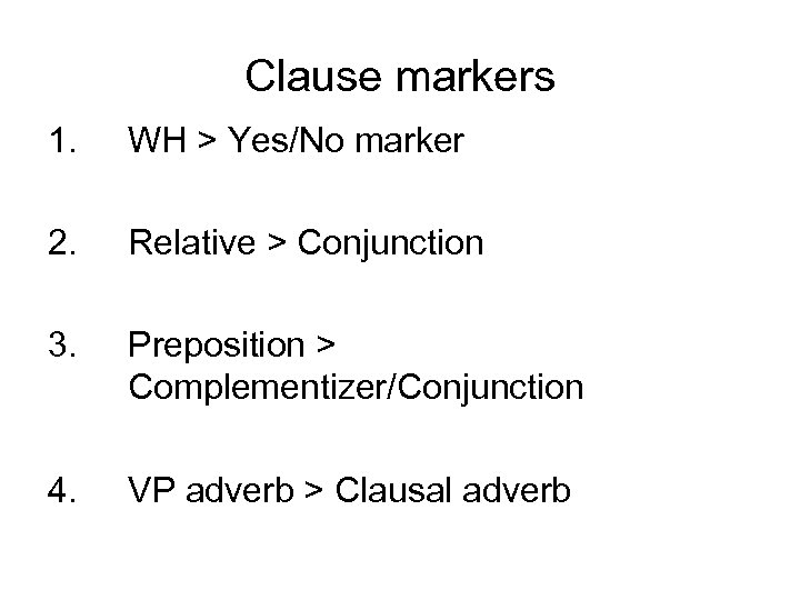 Clause markers 1. WH > Yes/No marker 2. Relative > Conjunction 3. Preposition >