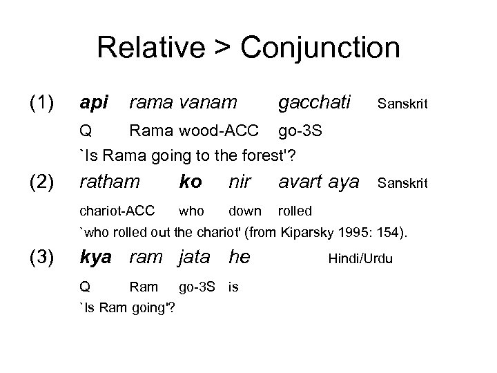 Relative > Conjunction (1) api rama vanam gacchati Sanskrit Q Rama wood-ACC go-3 S