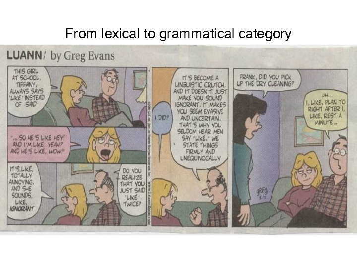 From lexical to grammatical category