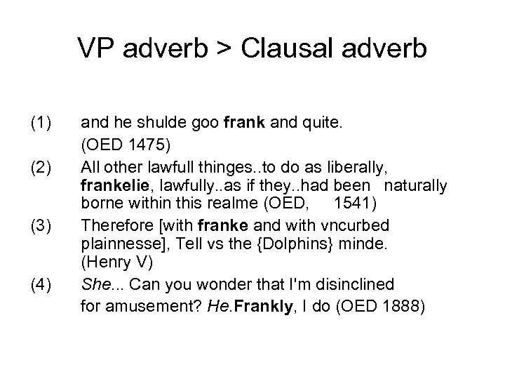 VP adverb > Clausal adverb (1) (2) (3) (4) and he shulde goo frank