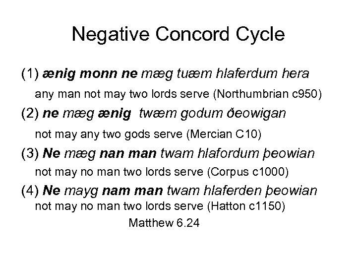 Negative Concord Cycle (1) ænig monn ne mæg tuæm hlaferdum hera any man not