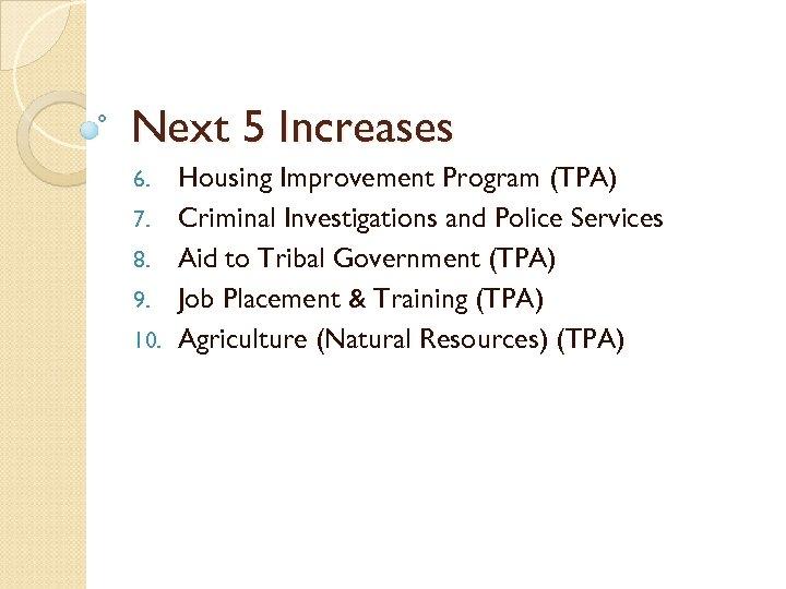 Next 5 Increases 6. 7. 8. 9. 10. Housing Improvement Program (TPA) Criminal Investigations