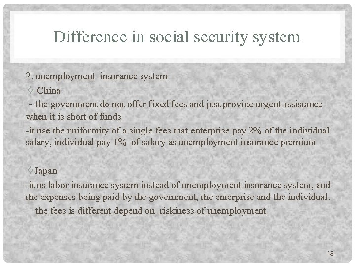 Difference in social security system 2. unemployment insurance system China -the government do not