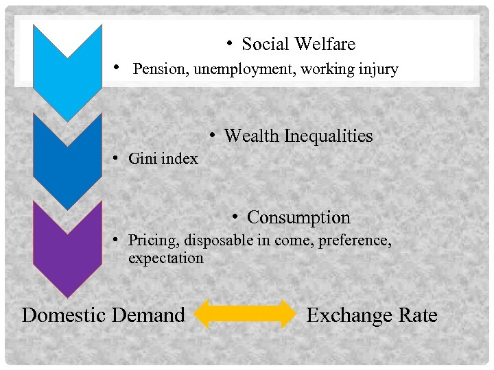 • Social Welfare • Pension, unemployment, working injury • Wealth Inequalities • Gini