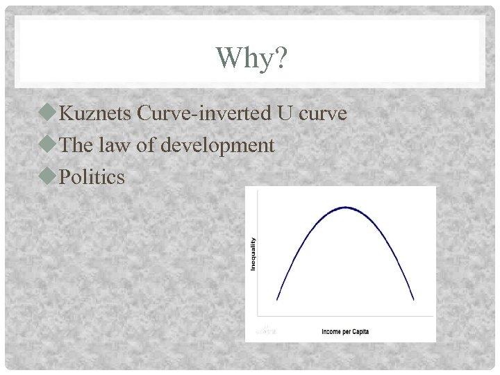 Why? u. Kuznets Curve-inverted U curve u. The law of development u. Politics