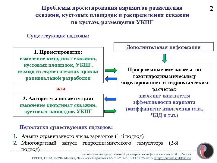 Проблемы проектирования вариантов размещения скважин, кустовых площадок и распределения скважин по кустам, размещения УКПГ