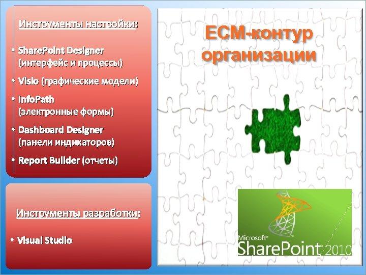 Инструменты настройки: • Share. Point Designer (интерфейс и процессы) • Visio (графические модели) •